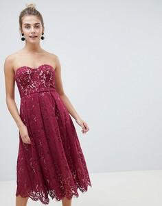 Кружевное платье-бандо миди New Look - Красный