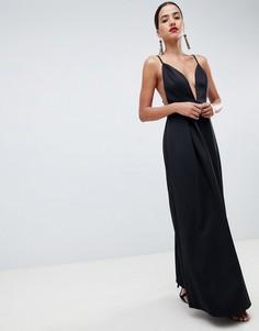 Платье макси для выпускного с глубоким вырезом и открытой спиной ASOS DESIGN - Черный