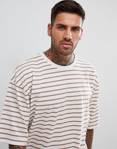 Белая oversize-футболка в полоску boohooMAN - Белый
