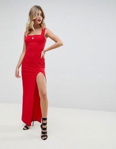 Платье макси с квадратным вырезом и разрезом сбоку Boohoo - Красный