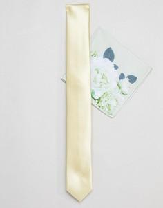 Желтый узкий галстук и платок для нагрудного кармана с цветочным принтом ASOS DESIGN wedding - Желтый
