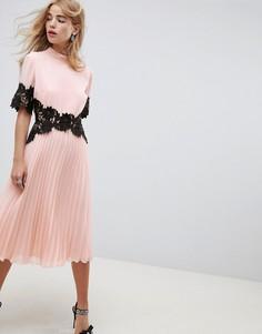 Плиссированное платье миди с манжетами и кружевной отделкой ASOS DESIGN - Розовый