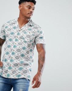 Рубашка с винтажным принтом и воротником в виде лацканов Soul Star - Кремовый