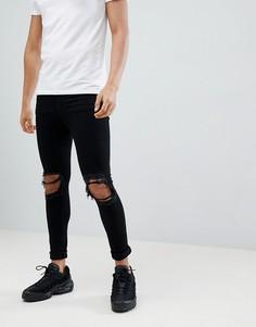 Черные джинсы скинни с рваной отделкой Jaded London - Черный