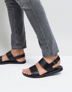 Черные кожаные сандалии с двумя ремешками Silver Street - Черный