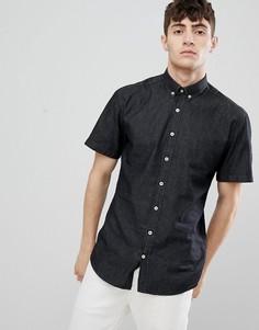 Приталенная джинсовая рубашка с короткими рукавами Clean Cut - Черный