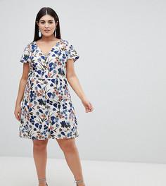 Платье миди на пуговицах с цветочным принтом Lovedrobe - Мульти
