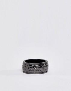 Кольцо серого металлического цвета с гравировкой Icon Brand - Серебряный Aetherston