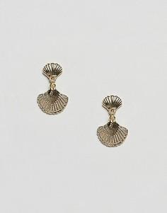 Серьги-подвески с ракушкой DesignB London - Золотой