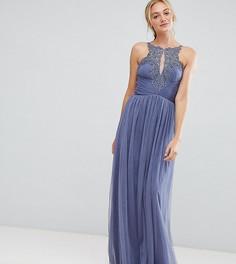 Платье макси с цветочной аппликацией Little Mistress Tall - Синий