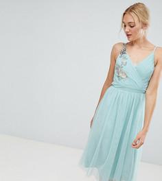 Платье миди с цветочной аппликацией Little Mistress Tall - Зеленый