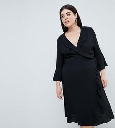 Черное платье с запахом, оборками и рукавами клеш Outrageous Fortune plus - Черный
