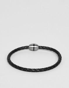 Черный кожаный браслет Fred Bennett - Черный