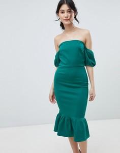 Платье миди с открытыми плечами и баской True Violet - Зеленый