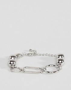 Серебристый браслет-цепочка с крупными звеньями и планкой ASOS DESIGN - Серебряный