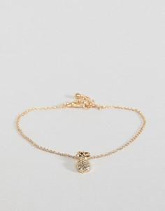 Золотистый браслет с подвеской-ананасом ASOS DESIGN - Золотой