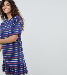 Платье мини в полоску с оборкой ASOS DESIGN Tall - Мульти