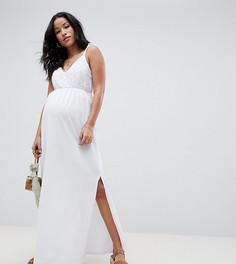 Сарафан макси с вышивкой ришелье на лифе ASOS DESIGN Maternity - Белый