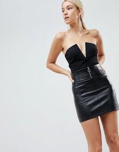 Мини-юбка из искусственной кожи Parallel Lines - Черный