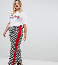 Широкие брюки с узором гусиная лапка Pink Clove - Черный