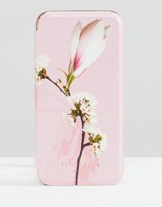 Чехол для iРhone 8 с зеркальцем и цветочным принтом Ted Baker - Розовый
