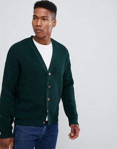 Зеленый кардиган в рубчик с заниженной линией плеч ASOS DESIGN - Зеленый