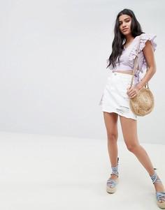 Состаренная джинсовая мини-юбка с необработанным краем Glamorous - Белый