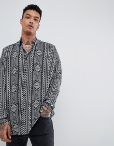 Вискозная oversize-рубашка с принтом пейсли и заниженной линией плеч ASOS DESIGN - Черный