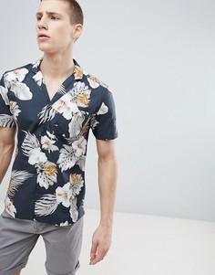 Рубашка классического кроя с воротником в виде лацканов и принтом гибискуса Esprit - Коричневый