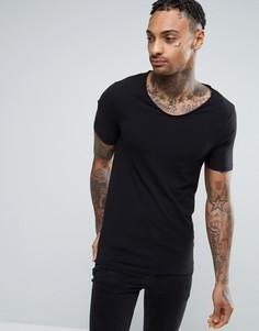Черная обтягивающая футболка River Island - Черный