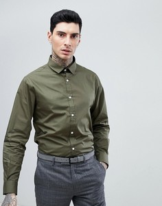 Однотонная поплиновая рубашка узкого кроя Process Black - Зеленый