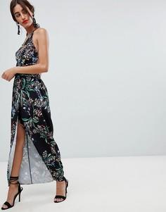 Платье макси с запахом и цветочным принтом Stylestalker - Черный