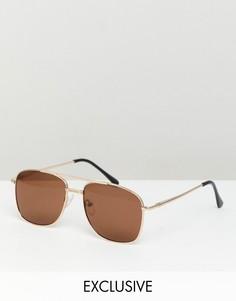 Солнцезащитные очки-авиаторы в золотистой оправе Reclaimed Vintage Inspired - Золотой