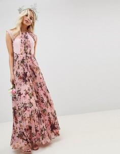 Розовое плиссированное платье с короткими рукавами и цветочным принтом ASOS DESIGN - Розовый