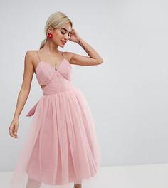 Платье мини для выпускного из тюля с вырезами ASOS DESIGN Petite - Розовый