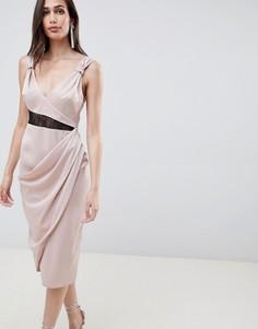 Платье миди с кружевом ASOS DESIGN - Бежевый