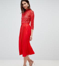 Плиссированное платье миди с кружевным верхом и рукавами 3/4 Little Mistress Tall - Красный