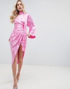 Жаккардовое платье миди с рукавом кимоно ASOS DESIGN - Розовый