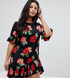 Платье с цветочным принтом и баской AX Paris Plus - Мульти