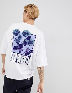 Oversize-футболка с принтом и рукавами средней длины ASOS DESIGN - Белый