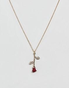 Золотистое ожерелье с подвеской в виде розы ASOS DESIGN - Золотой