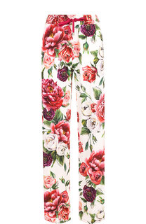 Брюки прямого кроя с принтом и контрастными лампасами Dolce & Gabbana