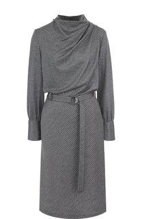 Шерстяное платье с поясом и воротником-стойкой Giorgio Armani