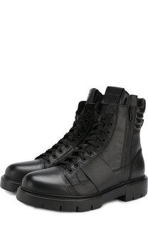 Высокие кожаные ботинки на шнуровке с молнией O.X.S.