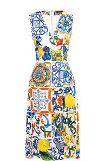 Приталенное платье-миди с V-образным вырезом и принтом Dolce & Gabbana