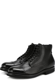 Кожаные ботинки с брогированием H`D`S`N Baracco