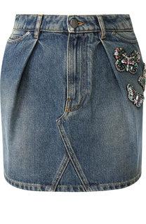 Джинсовая мини-юбка с потертостями и декоративной отделкой Valentino