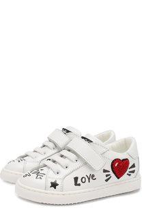 Кожаные кеды на шнуровке с застежкой велькро Dolce & Gabbana