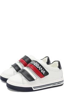 Кожаные кеды с застежками велькро Dolce & Gabbana