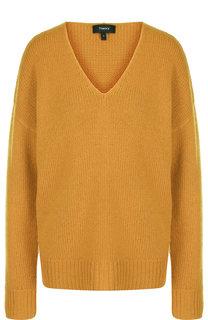 Кашемировый пуловер со спущенным рукавом и V-образным вырезом Theory